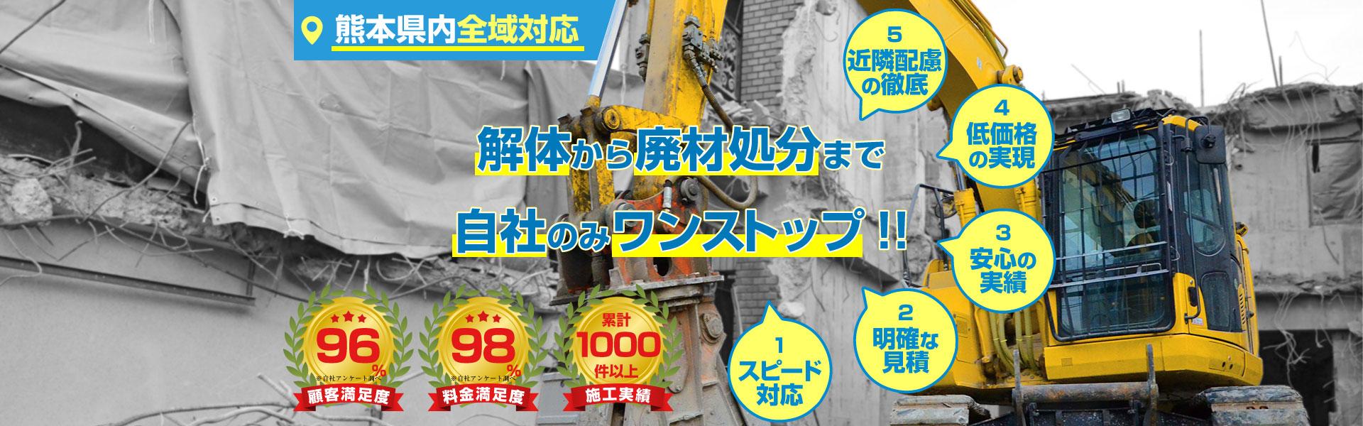 解体から廃材処分まで熊本県内全域対応勲栄総建のみワンストップ スピード対応 明確な見積り 安心の実績 低価格の実現 近隣配慮の徹底